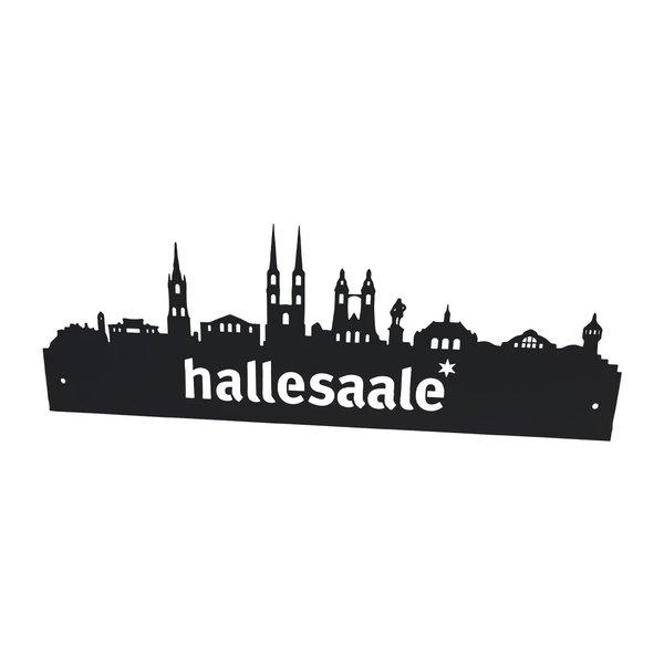 Wandschild mit Skyline Halle (Saale)